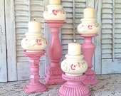 Vintage Rose Print Candle Holders on Pedestals- Set of 4 Pink - Taper/Pillar Holders - Cottage Shabby Chic Victorian French Country
