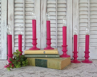 Magenta Pink Flameless Candlesticks - Set of 7 Battery Operated Candeleirs