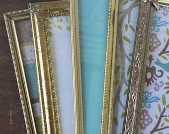 Vintage Metal Picture Frames - Gold Vintage Table Top Frames - Set of 5 - 8x10 Frames