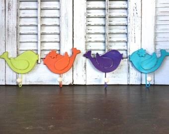 Whimsy Wooden Bird Wall Hooks - Set of 4 - Children's Room - Nursery