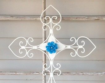 French Inspired Embellished Wall Cross - White Cottage Chic Metal Cross