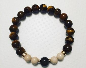 Mens Tiger Eye Stretch Bracelet. Mens stretch bracelet. Mens Jewelry.