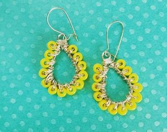 Dangle earrings. Handmade jewelry Yellow Beaded Dangle Earrings. Yellow Earrings. Boho Earrings. Chic. Sugarplum Gallery.