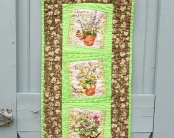 Spring Summer Wall Hanging Table Runner Flowers Birds Butterflies Door Decoration Table Topper