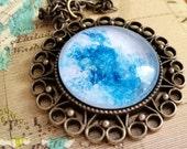 Winter Jewelry, Glitter Necklace, Pendant Necklace