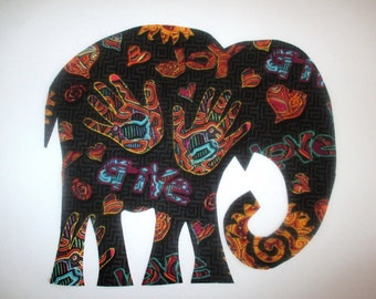"Elephant Patch X Large 9 1/2"" Iron On Tribal"