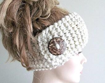 SALE Wool Knit Headbands Button Grey Wheat Earwarmers Spring Fall Winter Handmade Accessories Headcovers Womens Girls Headwraps
