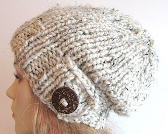 SALE Slouchy Beanie Slouch Wool Hats Oversized Baggy Beret Button womens fall winter accessory Oatmeal Grey Super Chunky Hand Made Knit