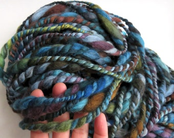 Handspun Yarn, Art Yarn, Bulky, Thick and Thin, 2 Ply, Wool, Alpaca, Ocean Treasures
