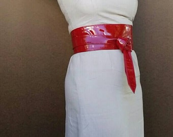 Wrap Red Leather Obi Belt -  Women Wide Belts - Original Tie Belts - Urban Wraparounds Belts - Streetstyle