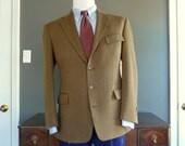Vintage 1920s - 1930s Retro-Styled POLO by Ralph Lauren 4/3 Roll Brown Tweed Jacket w/ 3 Exterior Flap Pockets 40 REG.  Made in USA.