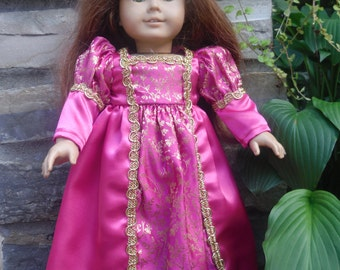 18 inch doll princess dress in egal rich hot pink with sari fabric inlay with tiara by Project Funway on Etsy