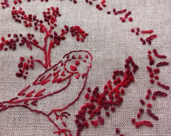 """Creative Embroidery  Coupon """"Moineau"""" pre printed linen/coton with washable ink Ref. CL068"""