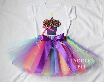 BIRTHDAY BLAST PURPLE Birthday Girl Set - 3d Cupcake Onesie and Tutu Skirt - 1st 2nd 3rd 4th 5th Birthday