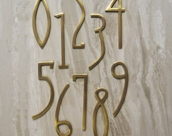 Art Deco Matte Brass House Door Numbers