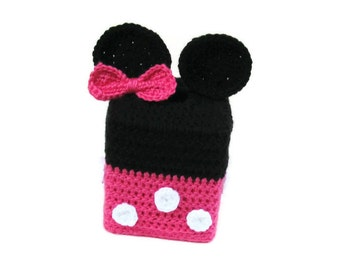 Minnie Mouse Inspired Crochet Tissue Box Cozy