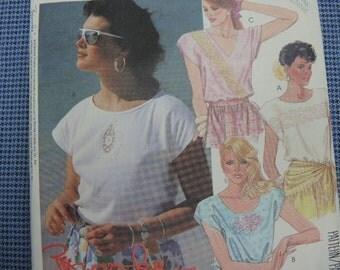 vintage 1980s McCalls sewing pattern 3121  Brooke misses tops size med 14-16