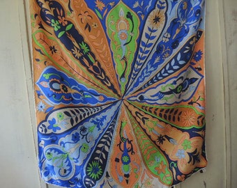 Vintage 1960s Saks 5th Ave silk scarf oversized abstract floral made in Italy  31 x 32 inches