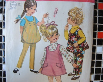 vintage 1970s Simplicity sewing pattern 8303 girls jiffy jumper or top and pants  size 3