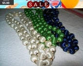 SALE 60% Off Lot of Satin bead necklaces,  30 inch satin beads in green, blue and white