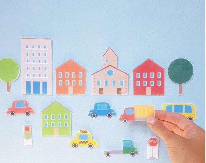 City Scape Felt Board Set - Toddler Quiet Book, Felt Activity Book, Montessori Toddler, Busy Book, Felt Story Board, Felt Board Stories