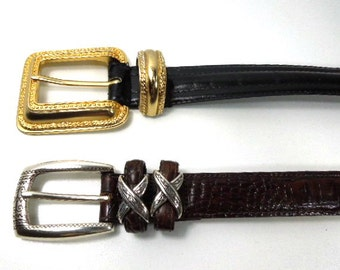 Fashion Leather Belts, Woman's Black Leather Belt, Sz. Small, Brown Leather Belt, Milor Black Belt, Brighton Brown Belt, Gift for Woman,