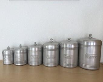 Vintage French Kitchen Storage Tins, Graduated Storage Canisters, 6 Nesting Storage Tins, Café, Sucre