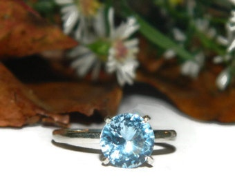 Aquamarine Ring, Solitaire, March Birthstone Ring, Anniversary Ring