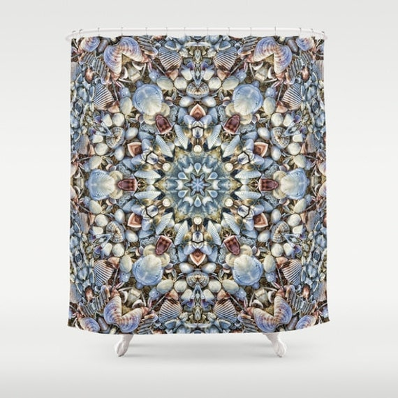 Seashell Kaleidoscope Shower Curtain Digital Art