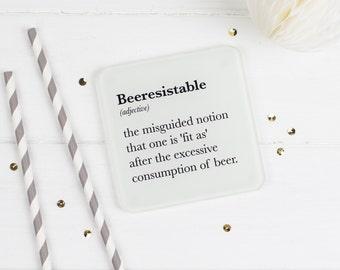 Funny Beer Drinker's Glass Coaster