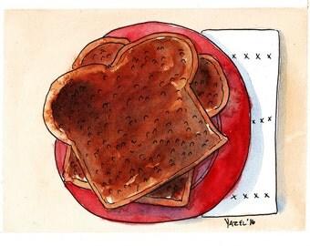 Breakfast: Toast - Print of my original illustration