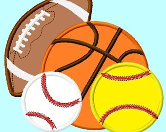 All Sports Balls Baseball, Softball, Football and Basketball Applique Embroidery Design INSTANT DOWNLOAD