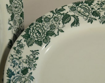 Jackson China, Jessica pattern, Restaurant ware, vintage, Deep green, floral, plates, set of four