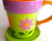 Sale / Flower Pot Coffee Mug, april finds, flower mug,  tea mug, cup and saucer, hand painted mug