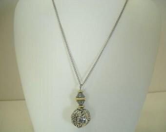 Vintage Silver Tone Funky Pendant Necklace (6495)