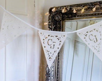 Personalized wedding bunting, perfect wedding decorations or anniversary decor, naming ceremony