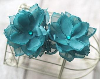 Bridesmaid Flower Clip, Teal Hair Accessory, Teal Flower Clip, Bridesmaid Hair Pin,Teal Wedding Hair Flower, Floral Bobby Pins,Rose Hair Pin