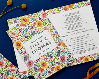 Bright Flowers Design Wedding Order of Service Cover