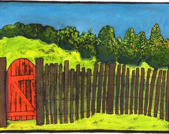 Into the New Year// Through the Red Gate// Landscape digital print// red//green