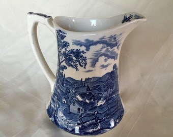 Alfred Meakin Blue Transferware Reverie Pitcher English Transferware