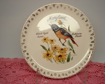 Vintage Maryland Souvenir Plate D. Rudeman Baltimore Oriole Black-Eyed Susan Collectible Plate Shabby Cottage Chic
