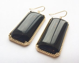Statement Earrings - Black & Gold Color Block Jewelry
