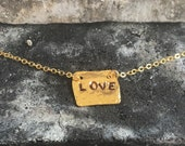 18k gold plated LOVE charm necklace