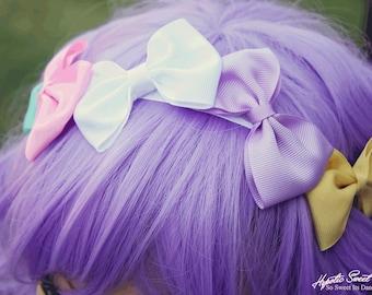 Rainbow Bow Crown Headband, Pastel Headband, Crown Headband, Fairy Kie bow, Girls Hair Bow, Pastel Kawaii, Lolita Hair Bow, Adult headband