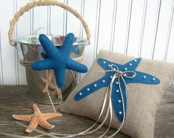 Starfish, Beach Wedding, Ring Bearer Pillow, Flower Girl Basket, Ring Bearer, Flower Girl Set, Destination Wedding, Royal Blue, Cobalt Blue