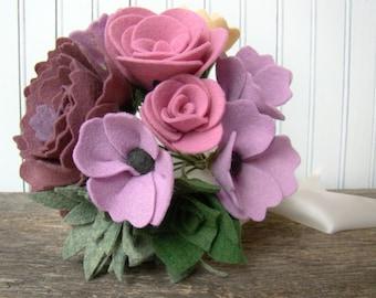 Felt Flower Bridal Bouquet, Jewel Tone Wedding Bouquet, Autumn Flower Bouquet, Lavender Lilac Wedding Flowers, Succulents Pink Wedding, Rose