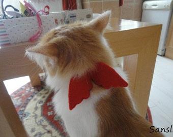 Cat collar-adjustable collar-custom collar-crochet cat collar-cat accessories-angel-halloween cat collar-red cat collar