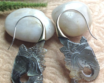 "Tribal Hanging Earrings, ""Shadow Ganesh"" Natural, Black Mother of Pearl, Brass Tops, Sterling Silver Posts, Handcrafted"