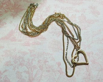 Layered Chain Choker Necklace Gold Heart - OOAK by GothDollie
