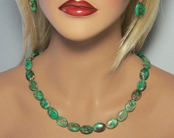 SALE Emerald Green Turquoise Hand Cut Flat Ovals Beaded Single Strand Necklace
